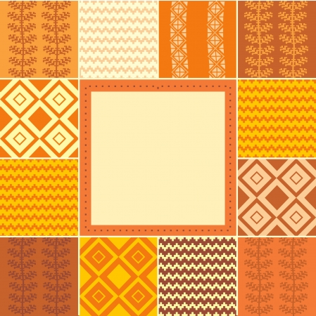 quilted fabric: Abstract geometric patchwork frame, template for design