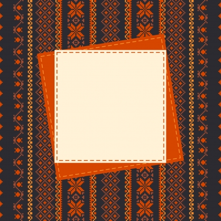 Textile frame template embroidered background with place for text Vector