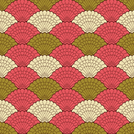 shell pattern: Abstract seamless pattern, retro style colorful background Illustration