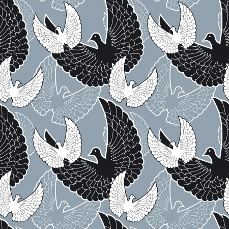 Flying birds seamless pattern in black-and-white Vector