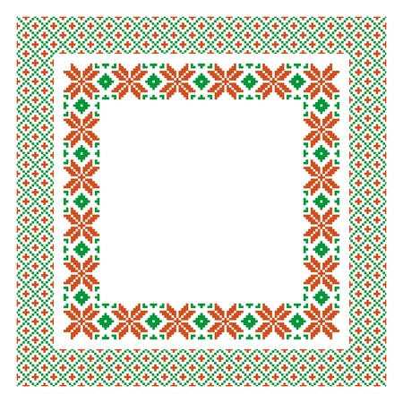 Embroidered frame; decorative background with place for text in ethnic style Vector