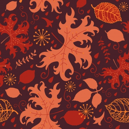 Red and orange decorative autumnal leaves, seamless background Stock Vector - 15067828