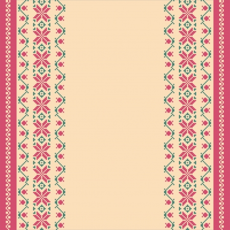Textile ornamental banner template; embroidered background in ethnic style Illustration