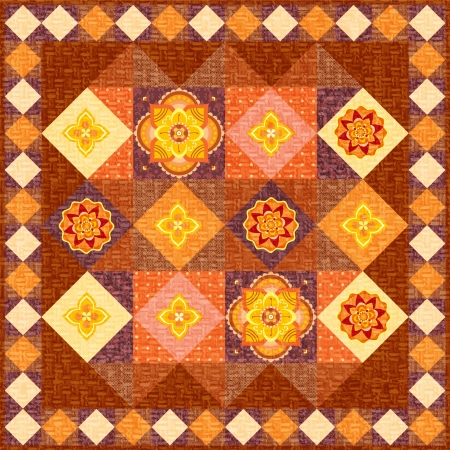 Brown patchwork quilt ornament flowers folk style photo