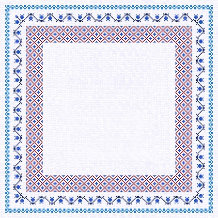 ukrainian: Embroidered frame; decorative background with place for text in ethnic style