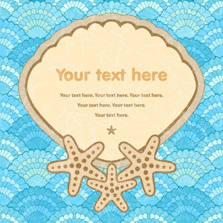Sea frame with starfishes in retro style Stock Photo - 15067837