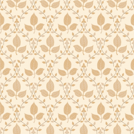Floral seamless classic wallpaper with autumn leaves Vector