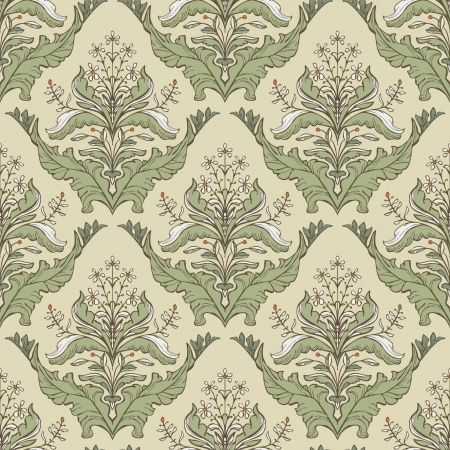 Classic vintage wallpaper with decorative floral motifs Illustration
