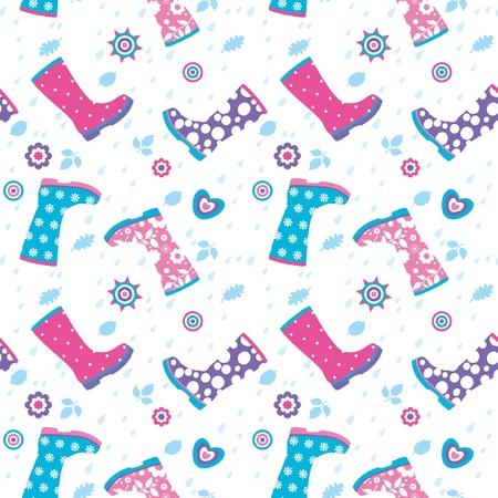 botas de lluvia: Patrón sin fisuras con las gotas de lluvia y botas de caucho de colores Vectores