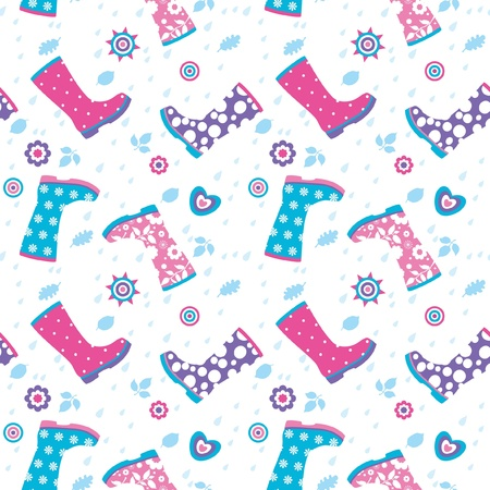 Seamless pattern with rain drops and colorful rubber boots Vector