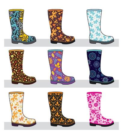 botas de lluvia: Juego de moda las botas de goma de colores con patrones, ilustración vectorial Vectores