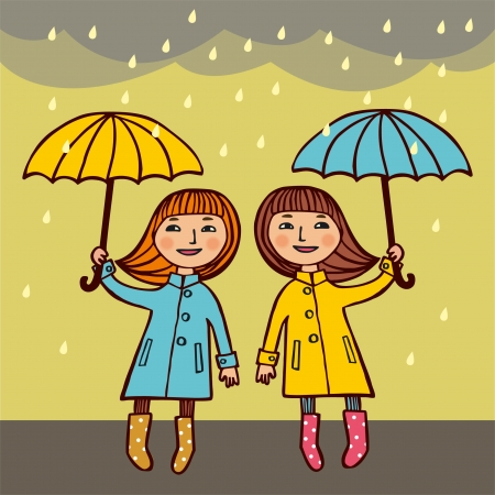 Two girls under umbrellas,  Vector