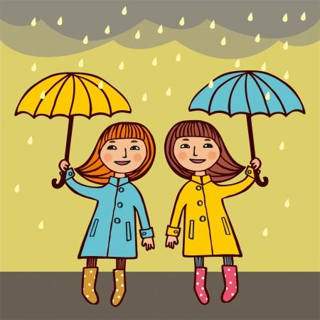 rain coat: Two girls under umbrellas,