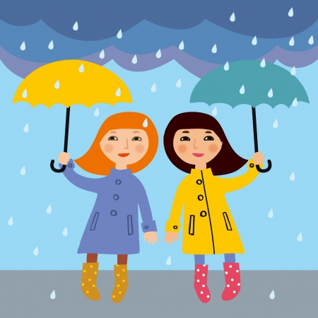 rain cartoon: Two little girls in the rain