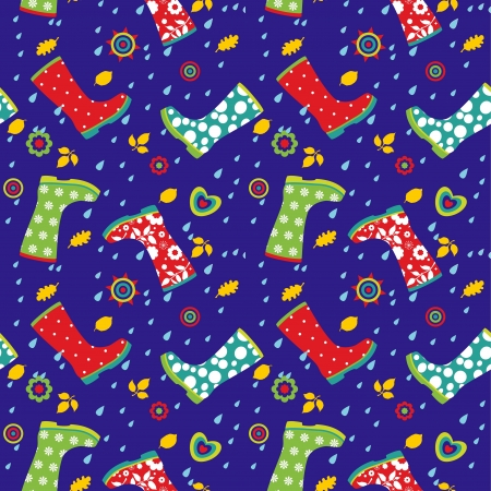 Seamless pattern of colorful gumboots  Vector