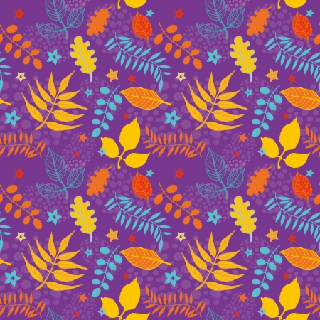 Decorative seamless pattern of colorful autumn leaves Stock Vector - 15534135