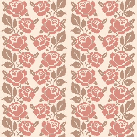 slavic: Decorative embroidered roses; seamless pattern in retro style Illustration