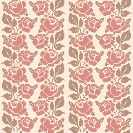 slavic: Decorative rose ricamate, modello senza soluzione di continuit� in stile retr� Vettoriali