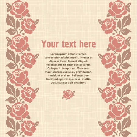 slavic: Embroidered background, template for design with place for text