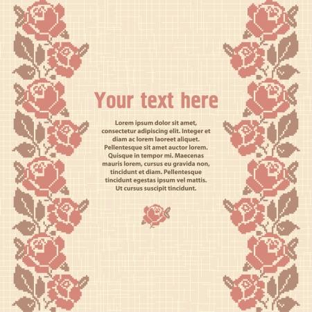 punto cruz: Fondo bordado, plantilla para el diseño con lugar para el texto