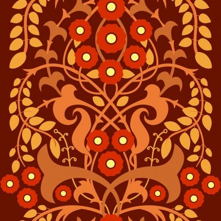 autumn motif: Flowering bush, decorative floral motif