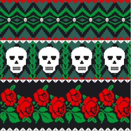 folk art: Mexican folk art skulls and roses pattern