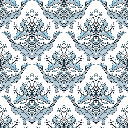motif floral: Classic floral damask pattern in blue and white