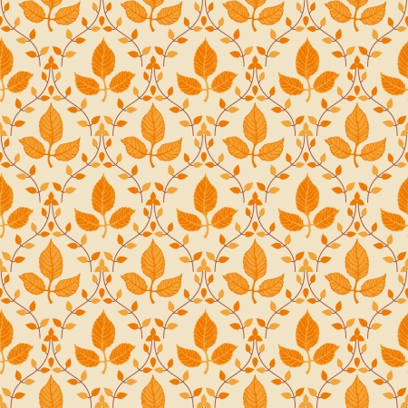 Seamless classic pattern of orange autumn leaves Vector