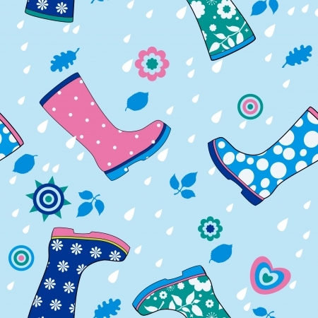 welly: Seamless pattern of colorful gumboots