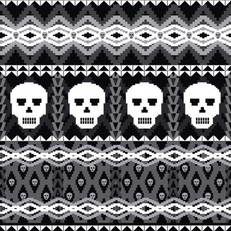 pullover: Ornamental nahtlose Muster mit Totenk�pfen