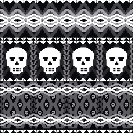 Ornamental seamless pattern with skulls  Vector