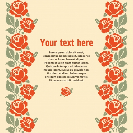 Template for design with embroidered roses and place for text Vector