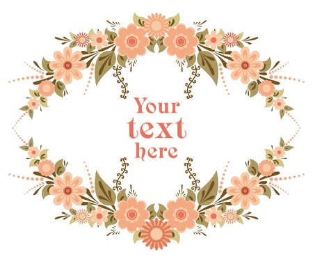 flores vintage: Decorative floral card template for design with place for text Illustration