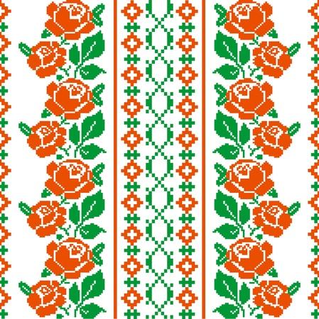 punto cruz: Estilo Folk textil estampado con rosas estilizadas Vectores
