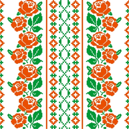 embroidery on fabric: Folk style textile pattern with stylized roses