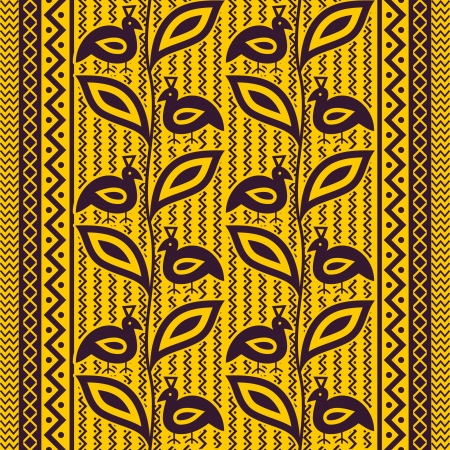Seamless pattern with birds in ethnic style Vector