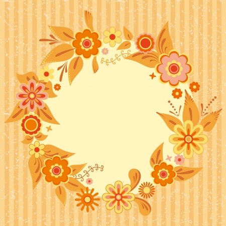 cute border: Wreath of flowers and leaves, card template