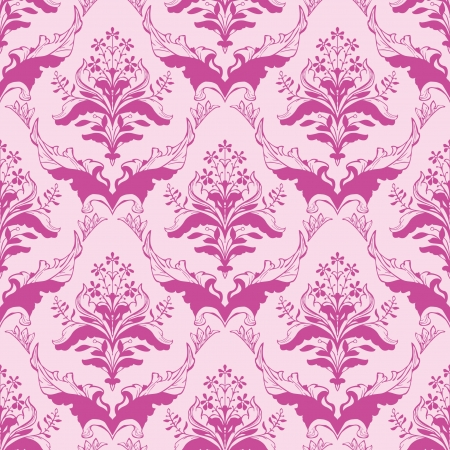 Classic floral damask seamless wallpaper in pink Vector