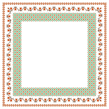 embroidered: Embroidered frame; decorative background with place for text