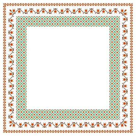 punto croce: Ricamato cornice, sfondo decorativo con posto per il testo Vettoriali