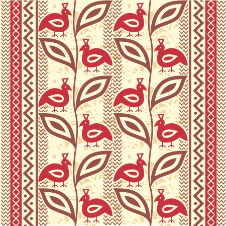 Ethnic ornamental seamless pattern with birds
