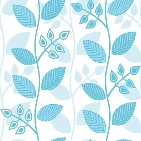 plant delicate: Seamless abstract floral pattern in blue and white