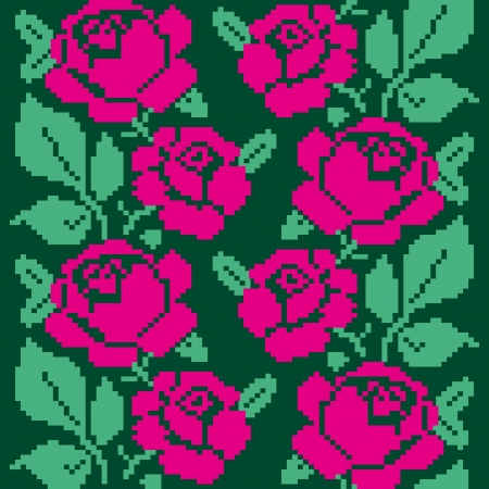 slavic: Fabric seamless pattern with embroidered roses Illustration