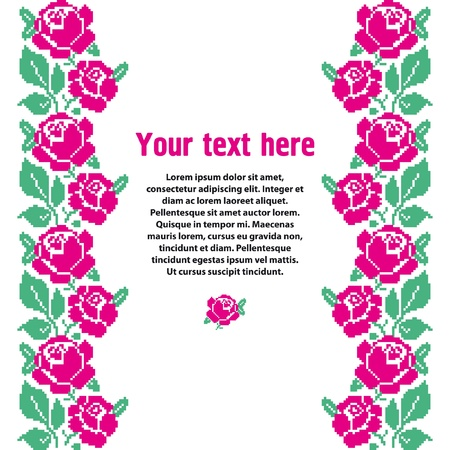 cross stitch: Template for design with embroidered roses and place for text