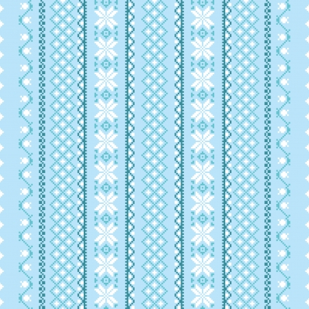 Traditional folk winter textile seamless embroidered ornament Vector
