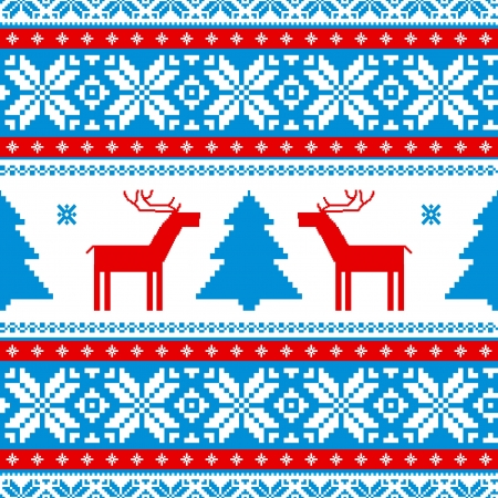 knitwear: Christmas traditional pattern; knitted background with deers Illustration
