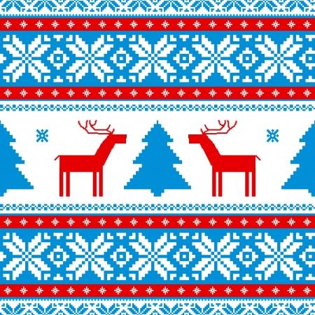 pullover: Weihnachten traditionellen Muster, gestrickte Hintergrund mit Rehen