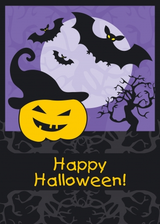 Halloween party background with pumpkin and bats Stock Vector - 15910736