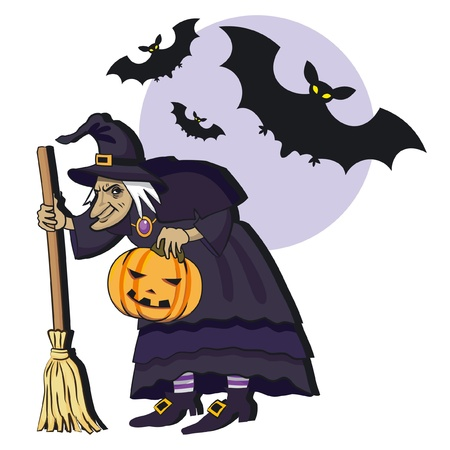 wicked: Old witch with broom; cartoon vector illustation Illustration