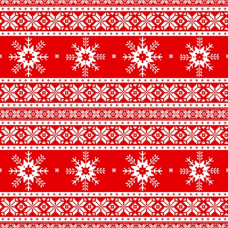 Traditional christmas knitted ornamental pattern with snowflakes Vector